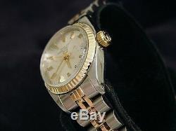 Rolex Femme Date 2tone Or Jaune Et Acier Montre Jubilé Cadran Argent 6917