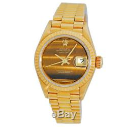 Rolex Lady Or Jaune 18 Carats 26mm Président Datejust Tiger Eye Dial 69178 Box