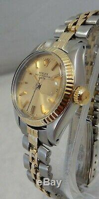 Rolex Oyster Perpetual Date De 14k / Ss Montre Femme Modèle 6917 Jubilee All Orig 1977
