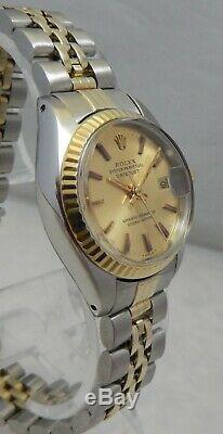 Rolex Oyster Perpetual Datejust 14k / Ss Or Montre Bracelet Jubilé 1978