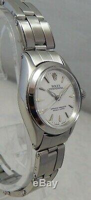 Rolex Oyster Perpetual En Acier Inoxydable Montre Orig Silver Band Dial 1964
