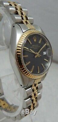Rolex Oyster Perpetual Femme Date 18k / Ss Or Montre Jubilee Band Dial Mint 1983