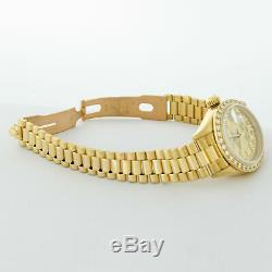 Rolex Président Femmes Datejust Or Jaune 18 Carats Champagne Diamant Cadran