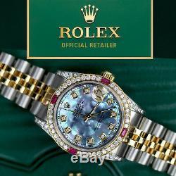 Ruby Diamant Rolex 26mm 2 Tone Or 18 Carats Ss Datejust Tahiti Mop Jubilee