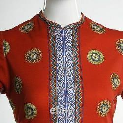 S Xs Vintage Années 1960 60s Mr Dino Short Sleeve Summer Dress Red Op Art Designer