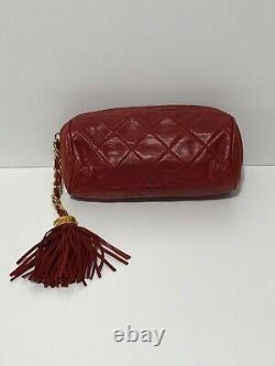Sac D'embrayage Fringe En Cuir Rouge Rare Vtg Chanel