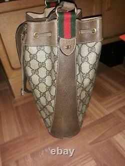 Sac De Godets Vintage Gucci Rouge Green Stripe Monogram Tote Backe