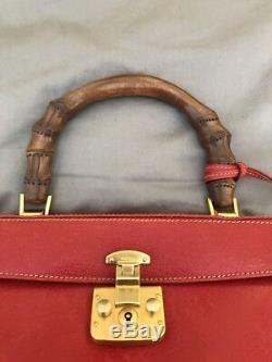 Sac En Bambou Vintage Gucci Brique Rouge Poignée