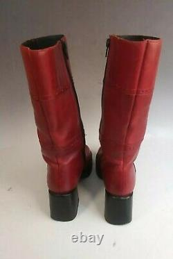 Sketchers Vintage 90s Plate-forme Red Leather Boots Womens Taille 7 Gros Talon