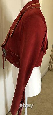 Superbe Veste Vintage Anna Sui Cropped Suede Leather Western Style Jacket