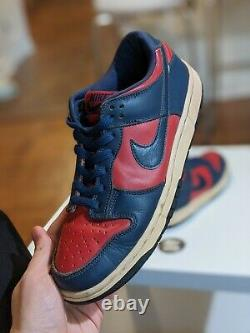Taille 8 Nike Dunk Low Vintage 2002 Fast Ship 630358 641 Navy Red Womens 9.5 9.5w