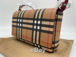 Tn-o Burberry Hampshire Vintage Check Bonded Cuir Petit Sac À Bandoulière Embrayage