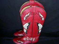 Tony Lama Vintage Red Butterfly Cowboy Boots Taille 27,5 États-unis 9,5- 10