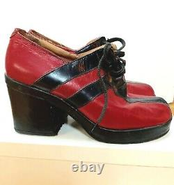 True Retro 70s-80's Leather Black & Red Women's Disco 3 Platform Shoes Italie