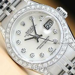 Véritable Mesdames Rolex Datejust Nacre Blanche Diamond Watch