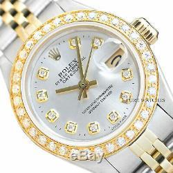 Véritable Rolex Datejust Mesdames Argent Dial Diamond 18k Gold & Montre En Acier
