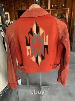 Vintage 1930 Fred Harvey Chimayo La Azteca Sport Veste Woven Hand Coat Indian