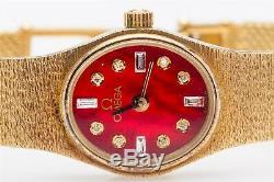 Vintage 7000 $ Rouge Mop Diamant Omega Or Jaune Montre Femme Robe