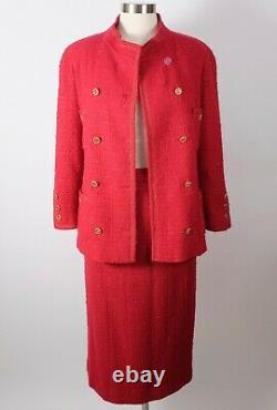 Vintage 80s Sz 36 / 4 Chanel Boutique Costume Rouge Tweed Veste Boutons MIDI Jupe