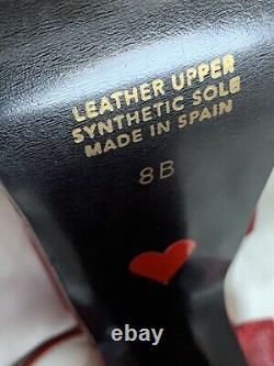 Vintage 90s Luichiny Platform Chaussures Crimson En Cuir Énorme Plates-formes Sandales 8