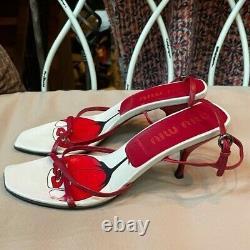 Vintage 90s Miu Miu Carré Toe Talon Sandale Rouge Rose Blanc Taille 8.5
