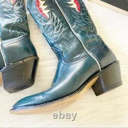 Vintage Acme Bleu Avec Red & White Inlay Cowboy Cowgirl Vtg Bottes De L'ouest Taille 8.5
