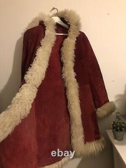 Vintage Afghan Pennylane Mongolian Suede Leather Coat 8 Veste Fourrure Simone Rouge