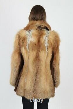 Vintage Années 70 Evans Fox Fur Coat Red Crystal Arctic Plush Suede Poussette Veste