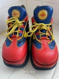 Vintage Années 90 Swear Alternative Platform Boots Clown Raver Rouge Bleu Jaune 42