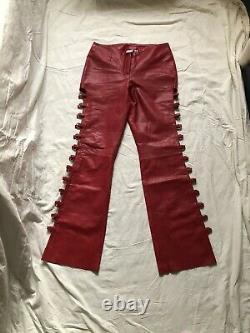 Vintage Années 90 Y2k Red Snakeskin Fetish Leather Cut Out Lace Up Loop Pantalon Uk14