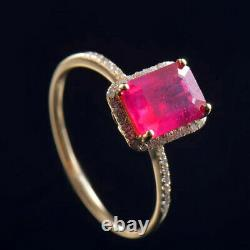 Vintage Art Déco Natural Diamond Red Ruby Engagement Women Ring 14k Or Jaune