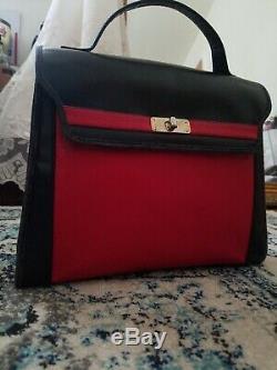 Vintage Auth Givenchy Noir Et Rouge Poignée Supérieure En Cuir Deux Tons Kelly 28cm Sac