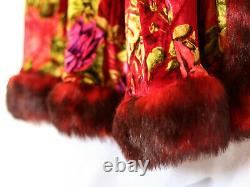 Vintage Betsey Johnson Velvet Faux Fur Duster Coat Rouge Rose Pattern