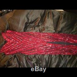 Vintage Bob Mackie Robe Rouge Sequin Robe Bustier Taille 8 Moyenne Robe Pageant
