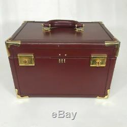 Vintage Cartier Cuir Bordeaux Train Sac Voyage Bagages Case