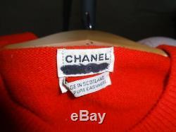 Vintage Chanel Rouge Gilet De 100% Boutons De Sac À Main D'or Cachemire Ecosse