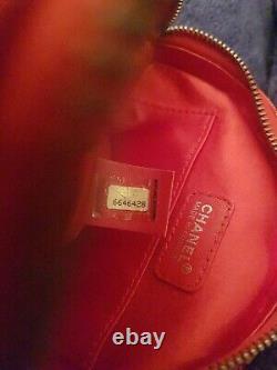 Vintage Chanel Round CC Red Travel Line Jacquard Nylon Wristlet Bag