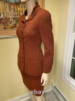 Vintage Chanel Taille 38/petite Rouille Rouge/brun Rouge-blend De Laine Tweed Costume De Jupe De Sweed
