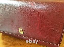 Vintage Christian Dior Bandoulière Sac À Bandoulière En Cuir Bourgogne Rare