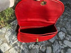 Vintage Coach Red Plaza Sac En Cuir Grand, Style 9865 (near Mint Et Htf)