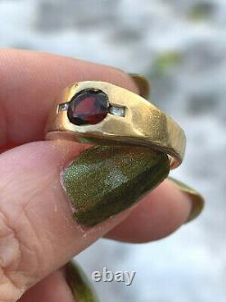 Vintage Designer 14k Yellow Gold Red Garnet Diamonds Gypsy Ring Heavy Men Femme