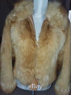 Vintage Echt Pelz Réel Fur Red Fox Sz. M Manteau De Short Femmes En Cuir Véritable
