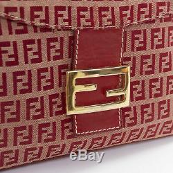 Vintage Fendi 90 Rabat De Boucle Ff Or Jacquard Monogramme Rouge Sac À Bandoulière Avant