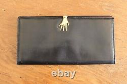 Vintage Gucci Black Leather With Red Accent Gold Hand Clasp Clutch Wallet
