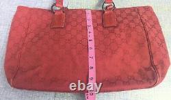 Vintage Gucci Gg Web Monogramme Rouge Toile Sac À Main En Cuir
