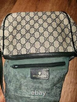 Vintage Gucci Gris Marine Rouge Gg Logo Messenger Crossbody Bag Authentique