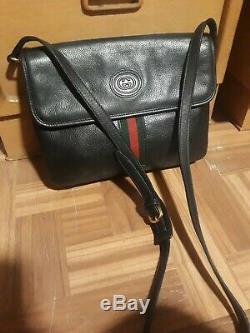 Vintage Gucci Sac À Bandoulière Embrayage Bourse Gg 80 Auth Noir Rouge Vert En Cuir