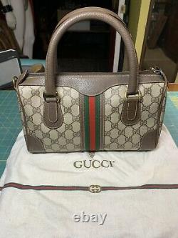 Vintage Gucci Sac À Main Authentique Canvas Red Green Stripe Beige & Duster Excellent