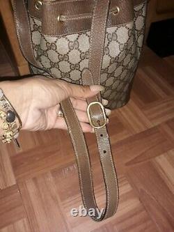 Vintage Gucci Sac Seau Rouge Bande Verte Sac Fourre-tout De Monogramme
