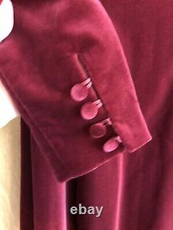Vintage Laura Ashley Velvet Dress Taille 14 Red Dramatic Gothic Christmas Maxi